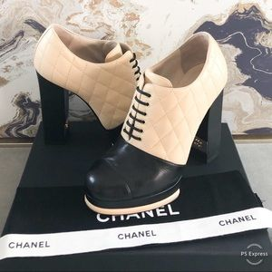 Chanel Two-Tone Quilted Pattern Leather Booties